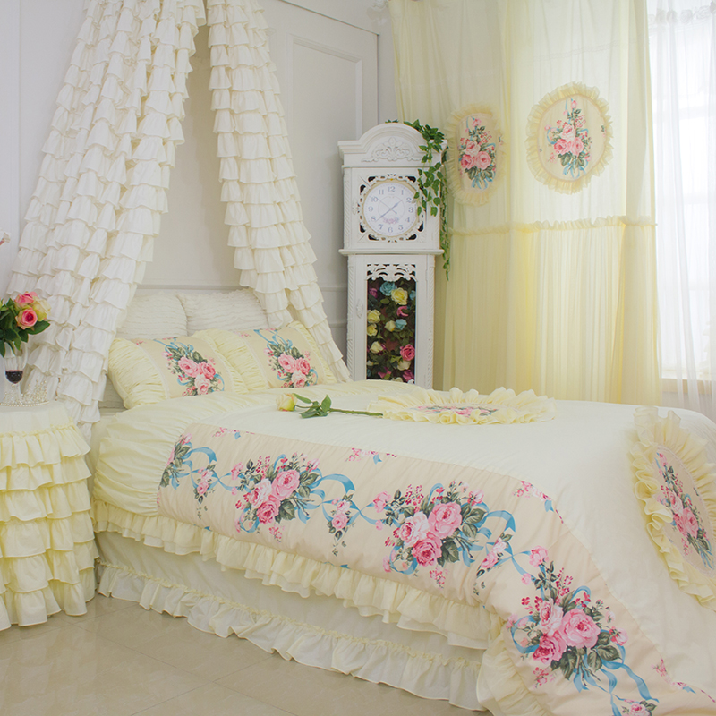 US $159.6 |Korean Luxury Beige yellow Bedding sets Curtains Window Bedroom  LACE FLORALCream YELLOW Curtains European Style Floral Curtain-in Bedding  ...