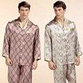 Atacado Cetim De Seda Pura Sleepwear Venda Dos Homens da Longo-Luva Pijamas Conjuntos de Pijama Calças 100% Natural Silk Pijamas Set YE2520