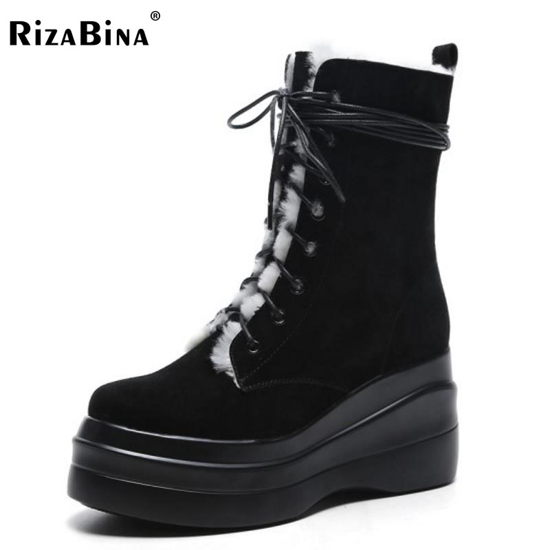 RizaBina Winter Snow Shoes Women Real Leather Warm Fur Mid Calf Snow Boots Women Cross Tied Thick Platfrom Botas Size 34-39 rizabina cold winter snow shoes women real leather warm fur inside ankle boots women thick platform warm winter botas size 34 39