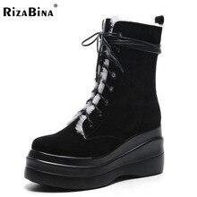 Rizabina зимние сапоги Для женщин из натуральной кожи Обувь на теплом меху до середины икры Женские снегоступы с перекрестной шнуровкой толстые platfrom Ботинки размеры 34–39