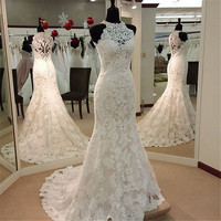 Mermaid Applique Satin Lace Wedding Dress High Neck Sleeveless Floor Length Court Train Bridal Gown