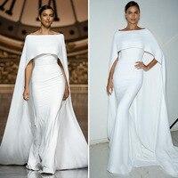 2019 простые элегантные белые Русалка Длинные вечерние платья с накидкой Атлас Для женщин взлетно посадочной полосы моды официальная Вечери