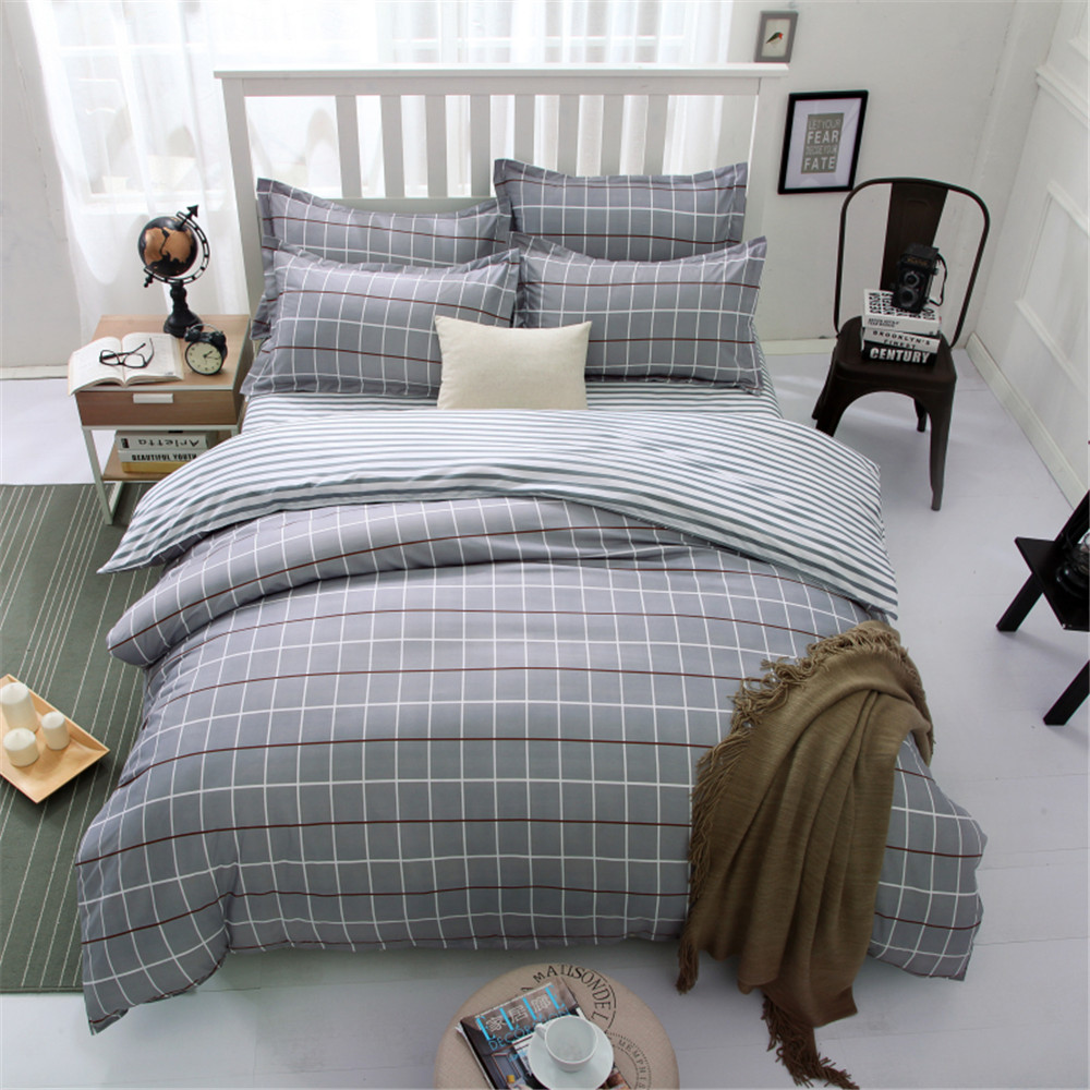 plaid geometric bedding bed sets queen king twin kids 45 pcs classic grey quilt comforter duvet cover boys bedsheets bed linens - Twin Bed Comforters