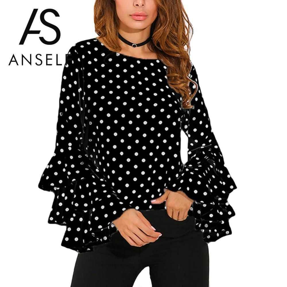 3XL 4XL 5XL Plus Size Túnicas Mulheres Camisa Polka Dot Ruffle Blusas de Mangas Compridas O Pescoço Elegante Ladies Escritório Tops Casuais feminino