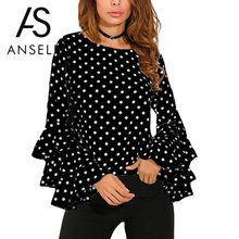 3XL 4XL 5XL Plus Size Tunics Women Shirt Polka Dot Ruffle Blouses Long Sleeves O-Neck Elegant Ladies Casual Office Tops female(China)
