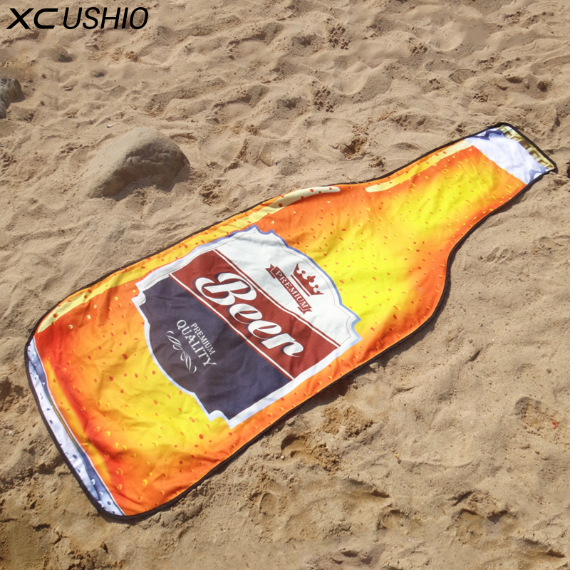 XC USHIO 1 Piece New Style Microfiber 180*72 cm Creative Beer Bottle Beach <font><b>Towel</b></font> Bikini Cover Up Picnic Blanket Wall Tapestry