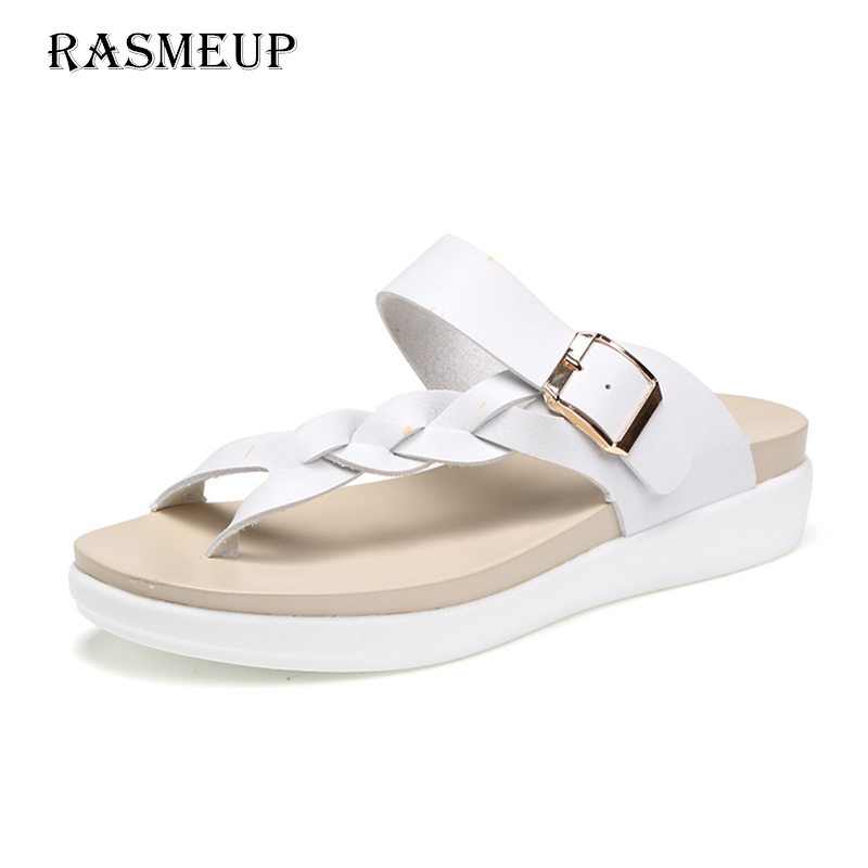 RASMEUP Genuine Leather Plus Size Women's Flat Beach Slippers 2018 Fashion Women Ourdoor Flip Flops Woman Summer Sandals Shoes