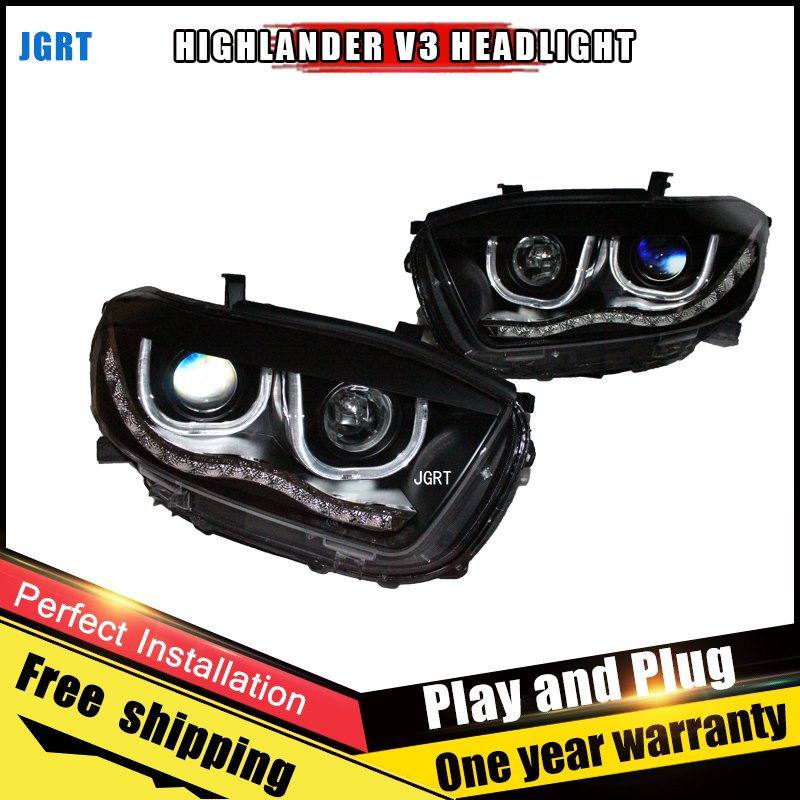 2PCS Car Style LED headlights for Toyota Highlander 2009-2012 for head lamp LED DRL Lens Double Beam H7 HID Xenon bi xenon lens hireno headlamp for 2003 2009 toyota land cruiser prado headlight assembly led drl angel lens double beam hid xenon 2pcs