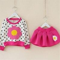 Весенняя футболка с длинными рукавами и цветочным принтом для девочек, юбка платье в горошек для маленьких девочек модный комплект одежды д