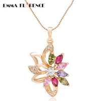Colorful CZ Crystal Pendant Necklaces Rose Sparkling Last Shine Quality Dangle& Chain Necklace Fashion Jewelry women