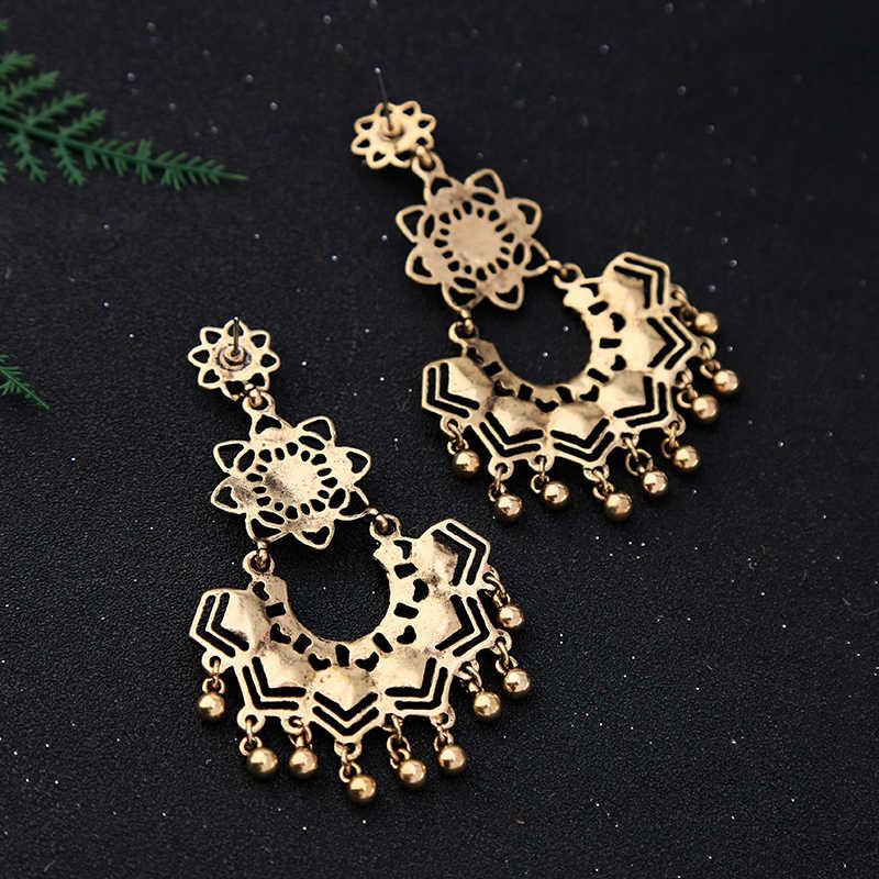 KISS ME Synthetic Stone Enamel Flower Geometric Statement Earrings Ethnic Style Big Drop Earrings Women Jewelry