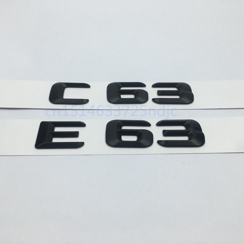 Black E63 C63 Emblem Rear Trunk Number Letter Badge Sticker For Mercedes Benz E C Classic 4Matic AMG W204