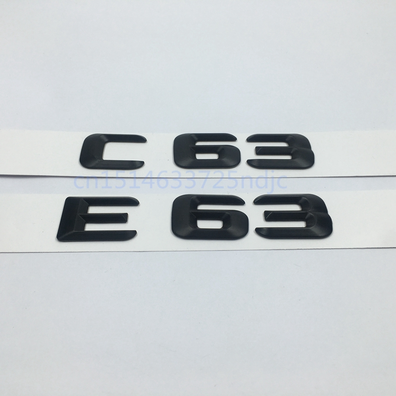 Black E63 C63 Emblem Rear Trunk Number Letter Badge Sticker For Mercedes Benz E C Classic 4Matic AMG W204 image