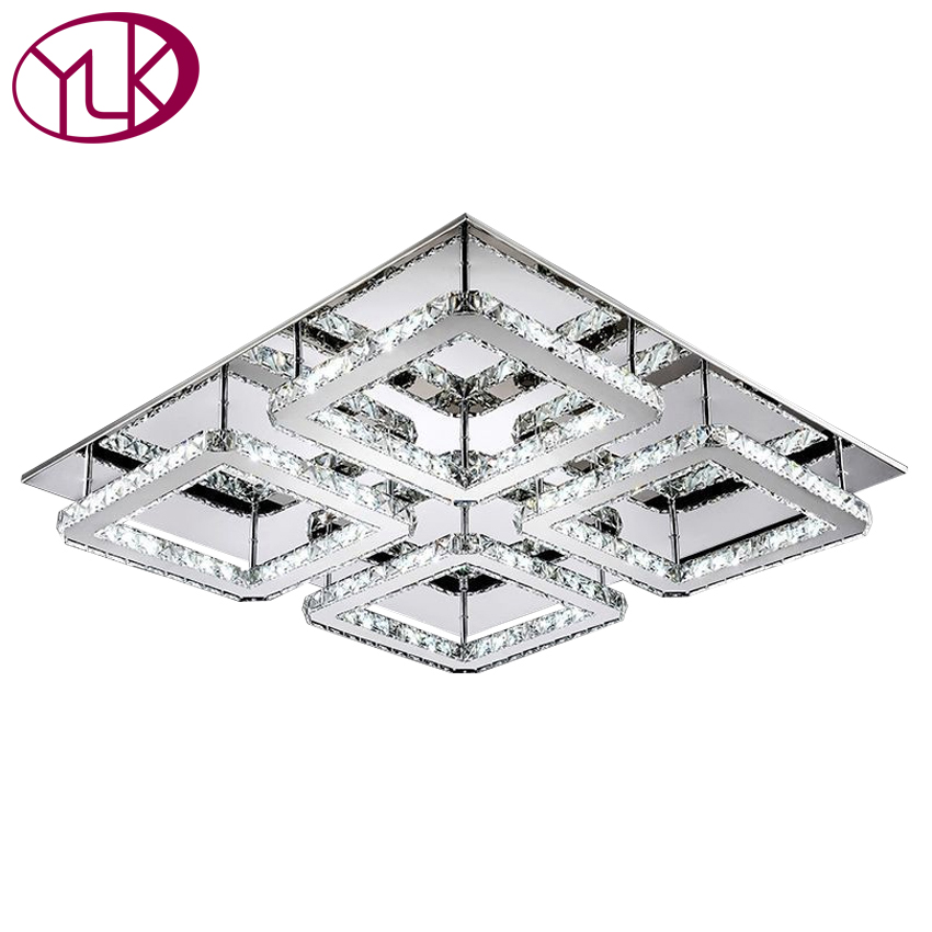 Free Shipping Large Square Design Modern Led Crystal Ceiling Light 4-lights Lustres Home Decoration Luminaria Teto free shipping led square ceiling light 13w 220v retail anti glare offices hotels home lighting