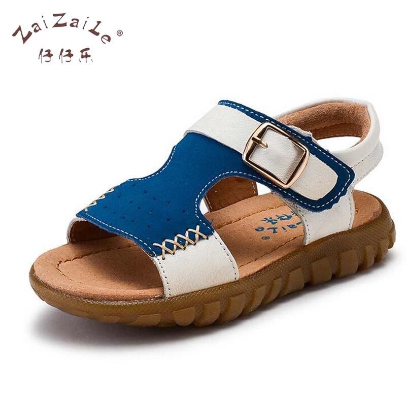 New 2017 ZaizaiLe Brand Genuine Leather Boy Shoes Children Boy Sandals Mixed Color Cow Muscle kids shoes chaussure enfant 6602
