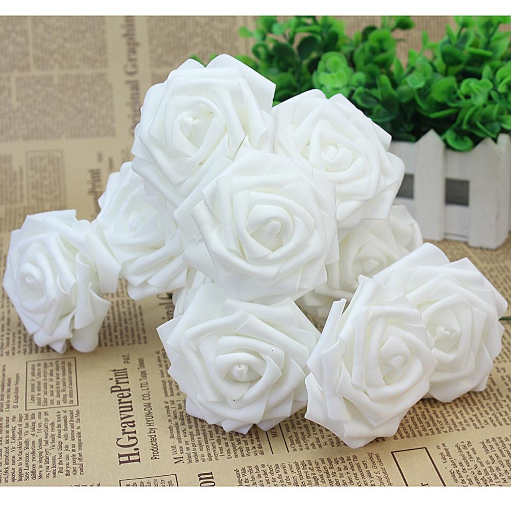 10pcs White Foam Artificial Rose Flowers Floral Handmade Wedding