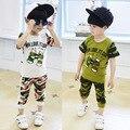 2016 nuevo estilo de Camo verde moda niños niños de la ropa del muchacho fijó juego de los cabritos del verano del muchacho ropa casual set