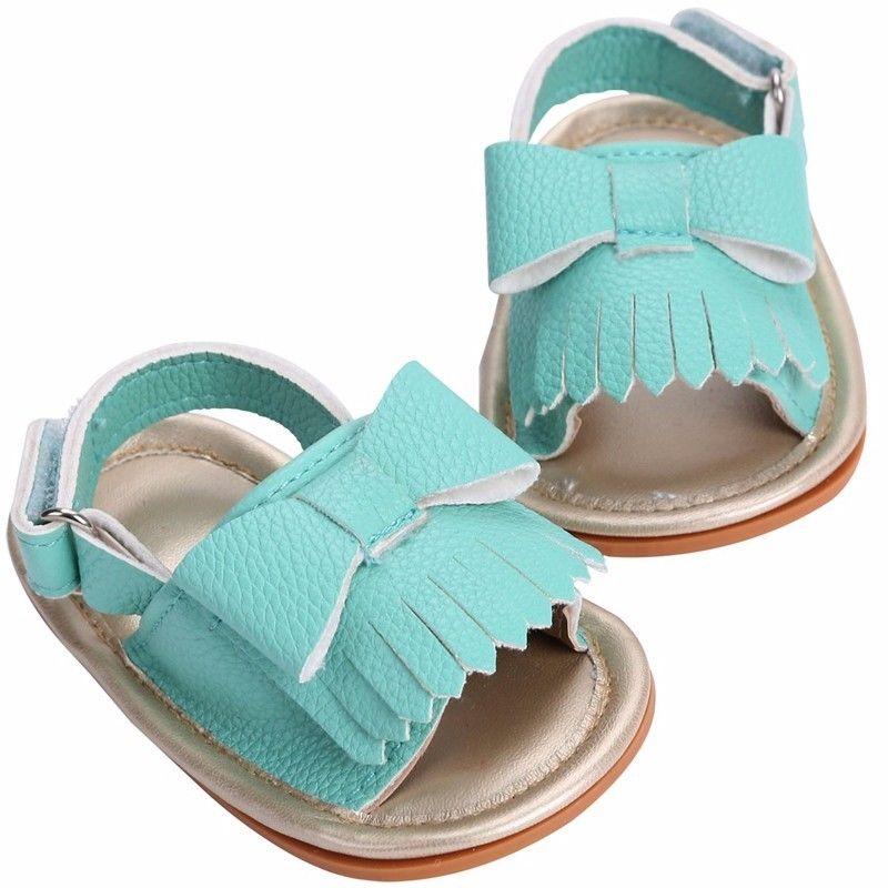 2017 Summer Cute Newborn Infant Baby Girl PU Leather Bow ...
