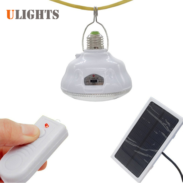 Remote Control 24 Led Solar Light E27 Outdoor Portable Tent Camping Emergency Security Lamp