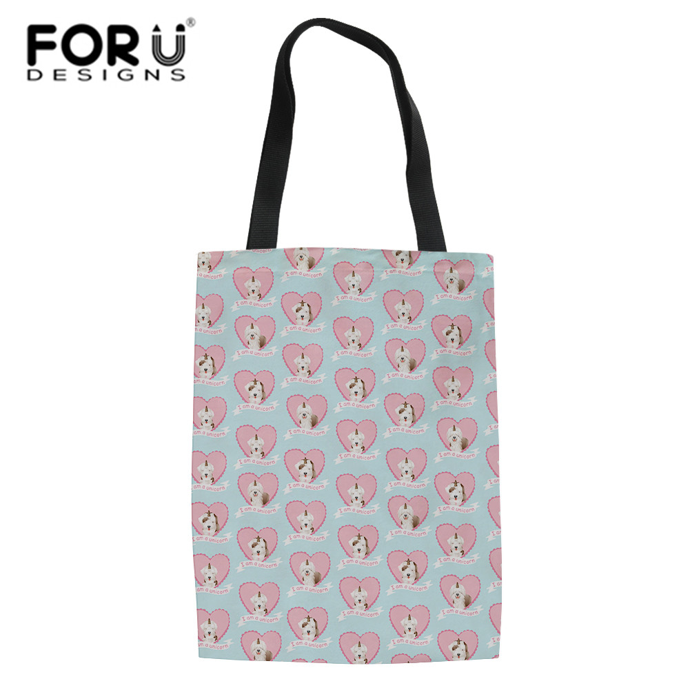 FORUDESIGNS Cute Unicorn Dog Bags For Vegetables Creative Designer Shopping Bag Ladies Travel Beach Handbag School Crossbody Sac ...