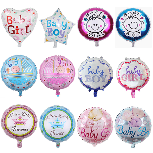 Baby shower balloons 18inch baby boy&girl stars heart round Foil helium balloon 1 year birthday party decoration kids toys gift