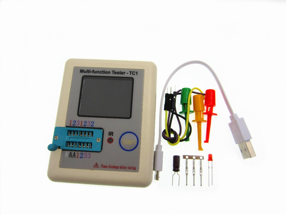 1set latest 12864 LCD Pocketable Transistor tester LCR-TC1 full color graphics display ESR meter tester in case diy m12864 graphics version transistor tester kit lcr esr pwm with case