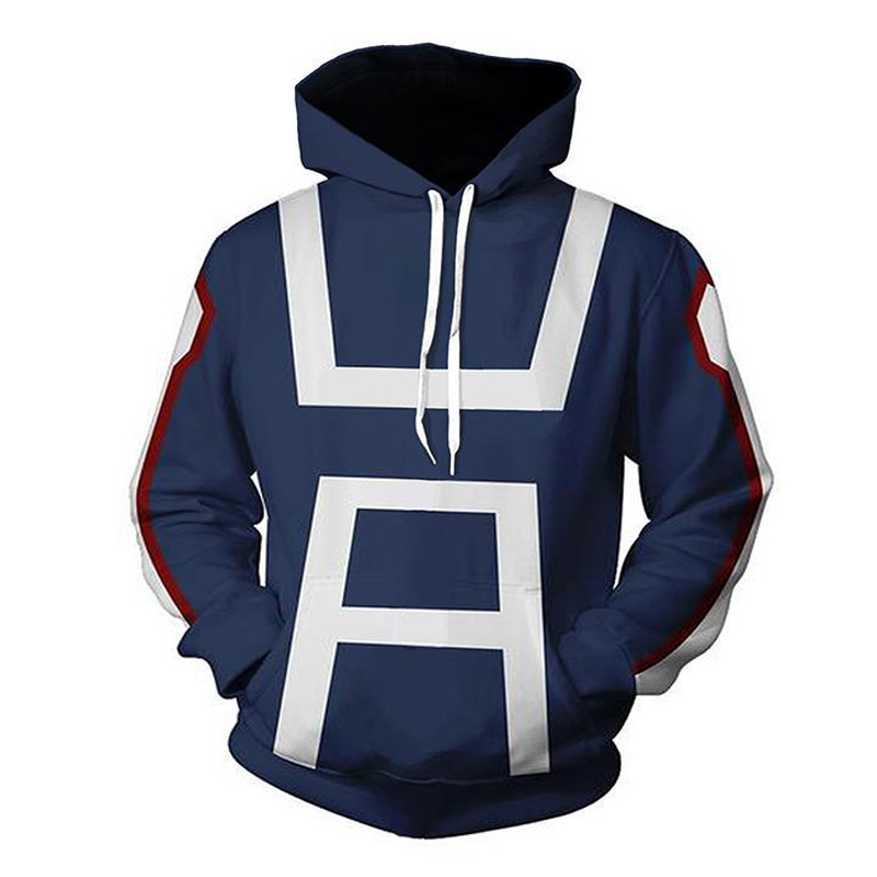 2018 My Hero Academia 3D Hoodie Sweatshirts Uniform Men Women Pullover Hoodies School College Style Tops Outerwear Coat Outfit