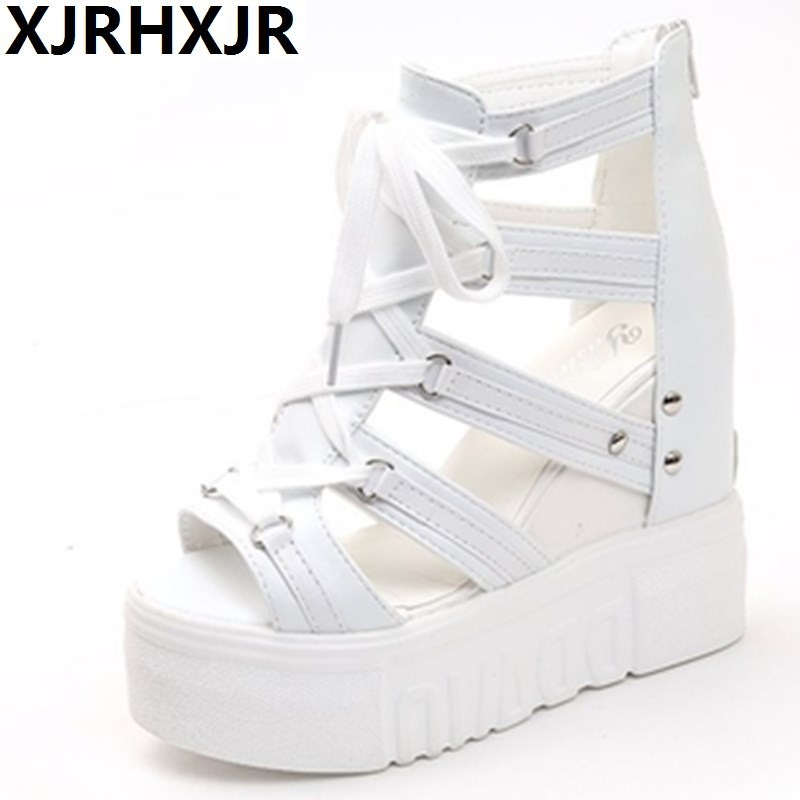 XJRHXJR Women Sandals Harajuku Summer New Fashion Platform Sandals Wedges Thick Bottom Casual Women Shoes High Heels Sandalias new fashion women casual shoes women sandals 2016 thick high square heels sandals black flock pumps