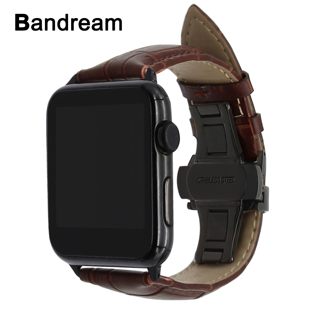 Genuine Calf Leather Watchband + Upgraded Adapter for iWatch Apple Watch 38mm 42mm Series 1 2 3 Butterfly Clasp Band Wrist Strap kakapi crocodile skin genuine leather watchband with connector for apple watch 38mm series 2 series 1 pink