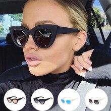 Gafas de sol de ojo de gato Vintage de 2019 para mujer gafas de sol redondas grandes para damas espejo Cateye gafas de mujer de marca de diseñador
