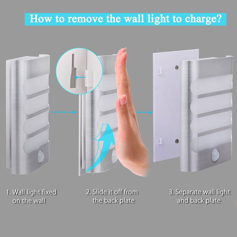 Rechargeable Night Light with Motion Sensor LED Wireless Wall Lamp Night Auto On/Off for Kid Hallway Pathway Staircase 18650 (Warm White)