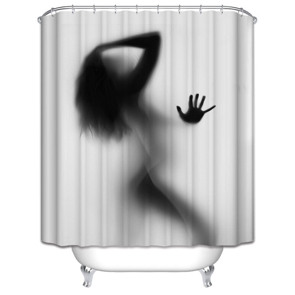 With creative shower curtains white and black creative shower curtain - Sexy Girl Women Shadow Silhouette Bath Shower Curtain Fashion Creative Bath Screen Waterproof Bathroom Curtain Home Decoration