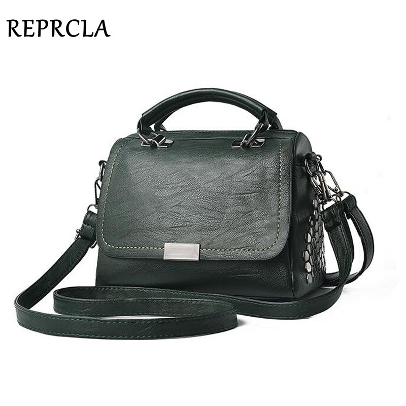 9278cc0c50c7 REPRCLA Fashion Soft PU Leather Handbags Female Shoulder Bag High Quality Women  Messenger Bags Crossbody Rivet Women Bag