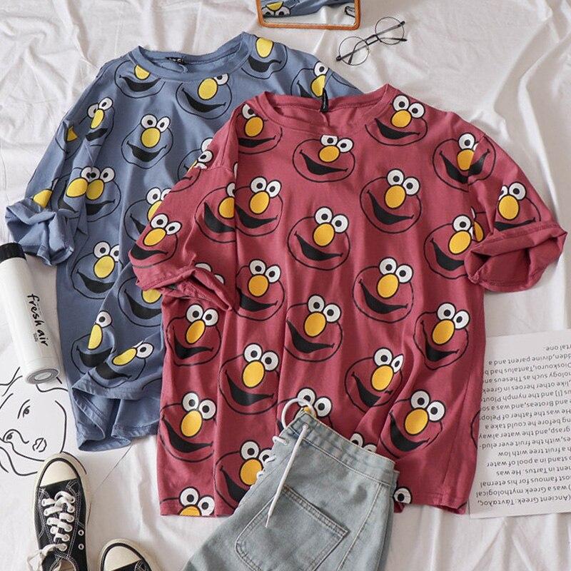 Korean Women   shirts   cartoon Printed Kawaii tops O-Neck All-match Students   t  -  shirts   Summer Harajuku Loose Clothing Casual   T     shirt