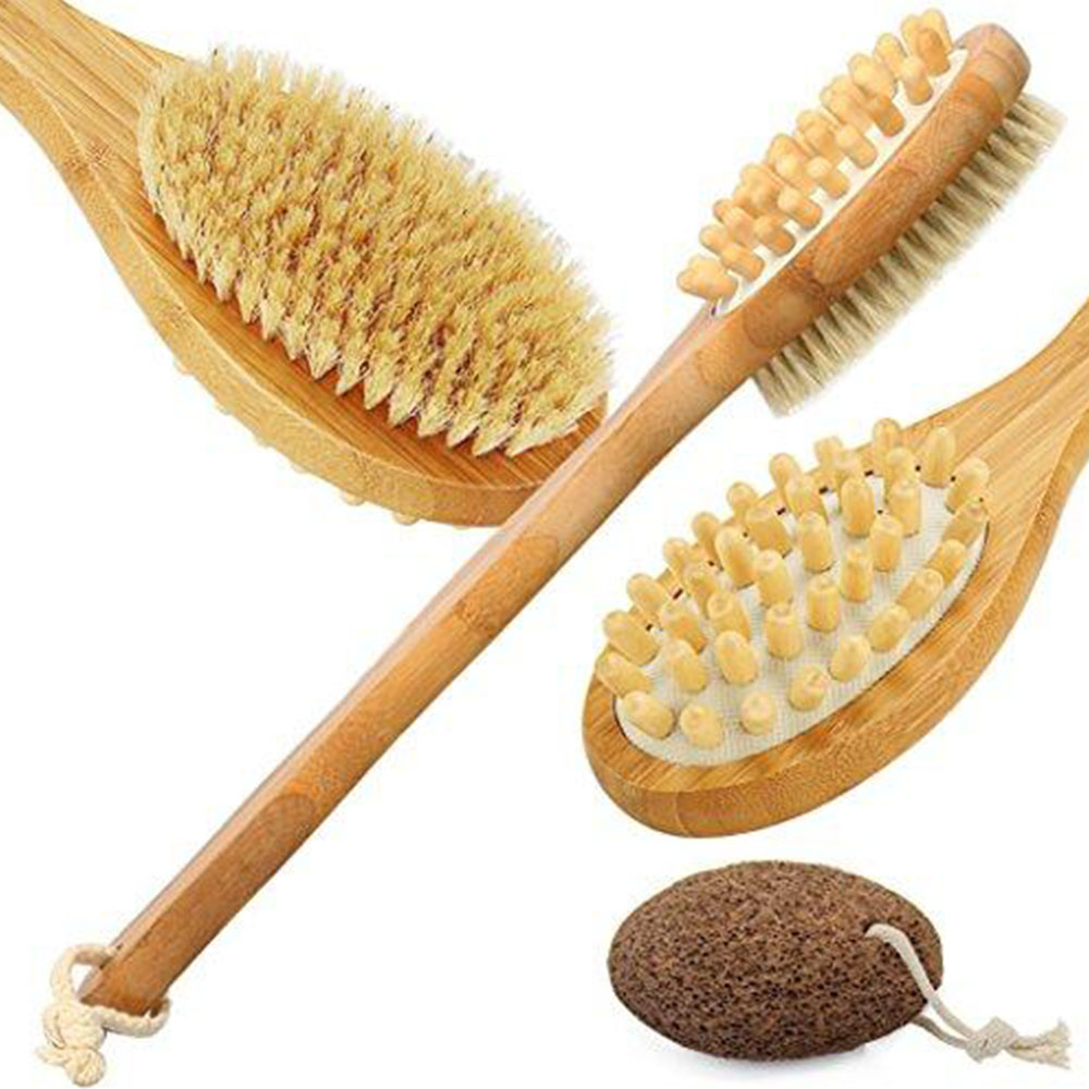 Body Brush for Dry Skin Brushing Back Scrubber for Skin Exfoliating and Cellulite Bamboo Bath Brush with Long dandle