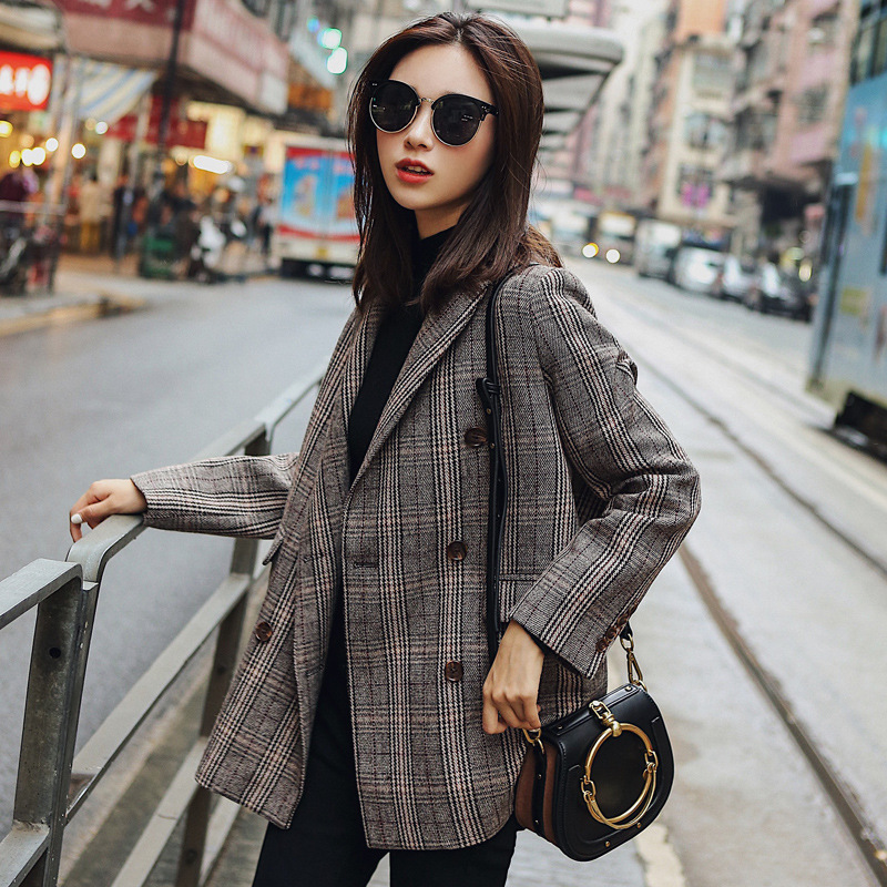 New autumn and winter high-end bf blazer female British retro plaid long section was thin coat