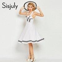 Sisjuly Women Vintage Dress 1960s Nautical Style Summer Retro Bowknot Sexy Dress Button Stripe Elegant Vintage