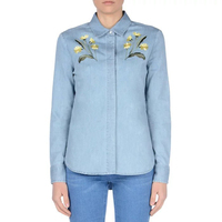 Women Light Blue Denim Flower Embroidery Long Sleeve Shirts Ladies Blusas Feminino Vintage Turn Down Collar