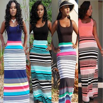cheap 2016 autumn fashion Women O-Neck striped Vest patchwork Bohemian Bandage bodycon Dress Sexy beach long Dresses Vestidos summer casual bodycon dresses