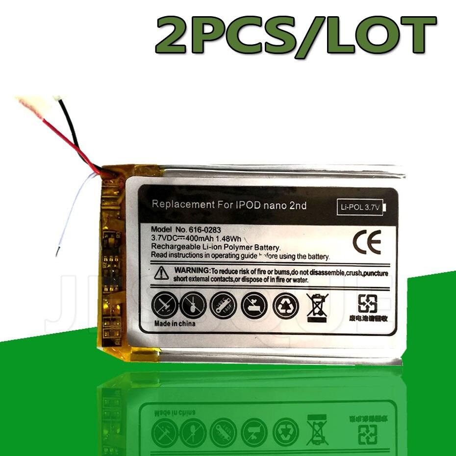 2PCS/LOT 616-0283 616-0287 400mAh Battery For Apple iPod Nano 2nd Generation 2 Gen 4GB A1199 Nano2 Batterie Accumulator AKKU(China)