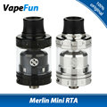 Original AUGVAPE Merlin Mini RTA Tanque 2 ml Single/Bobina dupla Deck W/Fundo Duplo Fluxo de ar Merlin Mini Cigarro e Atomizador RTA tanque