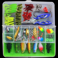 101PCS Fishing Lure Kit All Water Mixed Soft Lure Hooks Frog Lure Spoon bait Fishing Tackle Accessories WHTZ10101