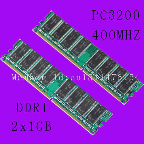 New Desktop 2GB DDR1 Chipset 2X1GB 1GB PC3200 DDR 400 Mhz Low density memory 2Rx8 CL3