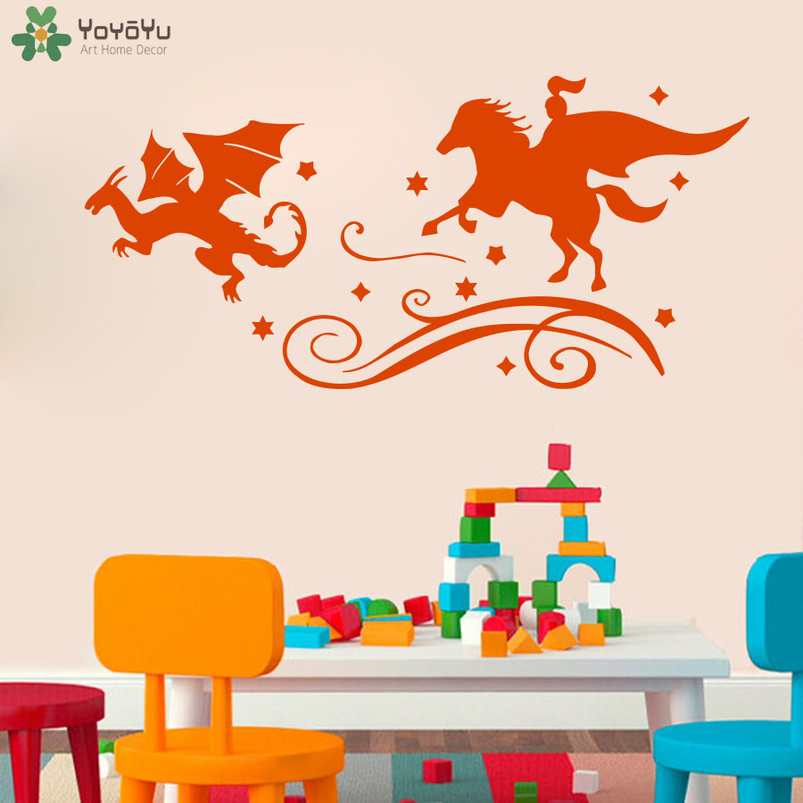 Fairy Tales Wall Decal For Kids Rooms Knight Dragon Chase Wall Sticker Evil Book Art Mural Baby Nursery Bedroom Home Decor SY386