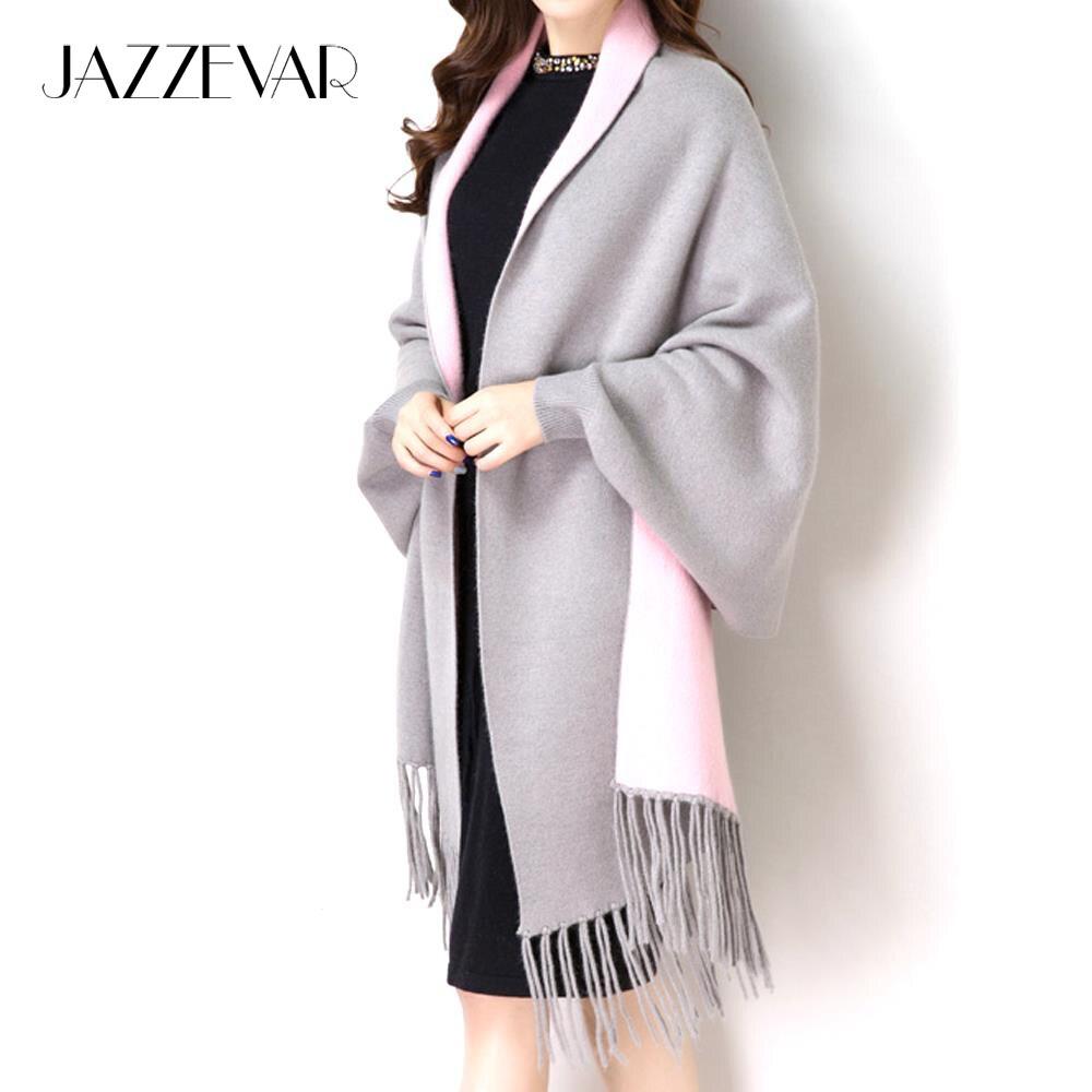 JAZZEVAR2019 New Women Elegant Socialite Cashmere Tassel Cardigan Sweaters Batwing Sleeves Scarf Cape Outwear Top Quality 860115