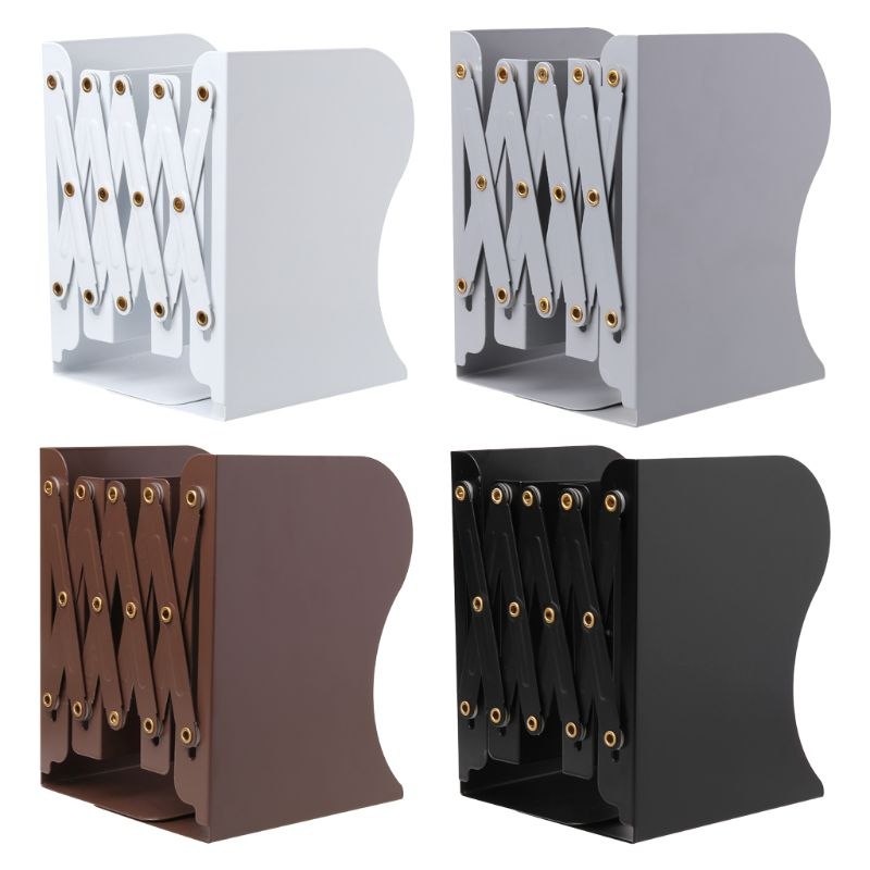 Extension Adjustable Metal Bookends Heavy Duty Book Desktop File Folder Retractable Stand Bookshelf Rack Holder