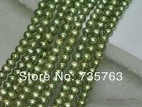 xiuli 000257 Lots 14strs AA+5mm luster green near round potato freshwater pearls