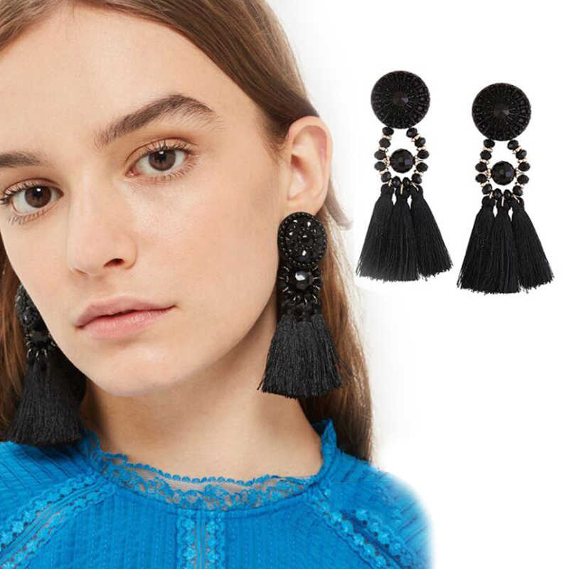 20 Styles Bohemian Long Statement Tassel Drop Earrings Luxury Resin Beads Tassel Earrings For Women Fan Shape Dangle Earrings