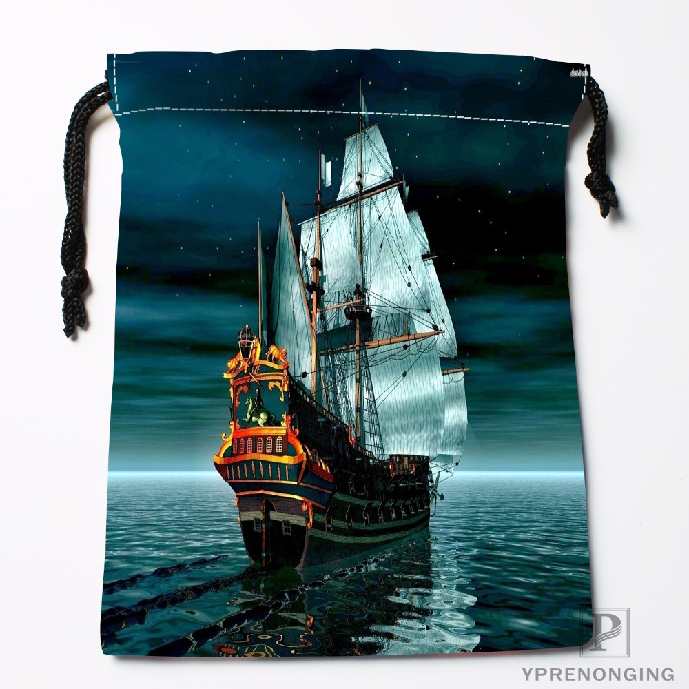 Custom Viking Ships Drawstring Bags Travel Storage Mini Pouch Swim Hiking Toy Bag Size 18x22cm#0412-11-108