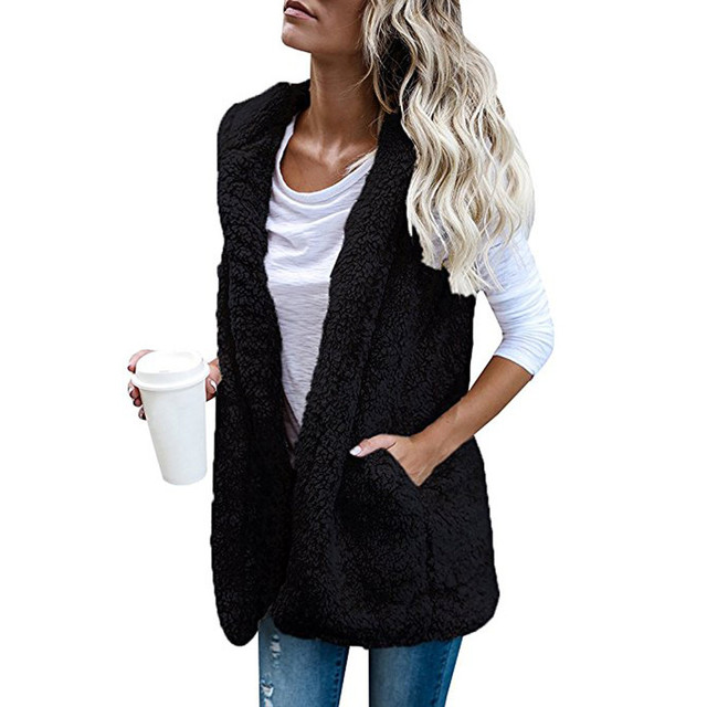 3bd6987c6fb1d Women s Vest Winter Warm Hoodie Outwear Casual Coat Faux Fur Zip Up Sherpa  female for women clothes top plus size fur warm F80